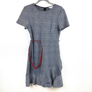 NWOT London Times Glen Check Midi Flare Dress Sz 8